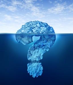 Fragezeichen als Eisberg